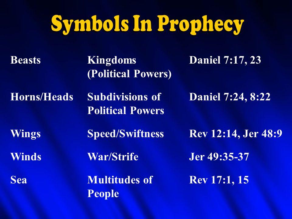 BeastsKingdomsDaniel 7:17, 23 (Political Powers) Horns/HeadsSubdivisions ofDaniel 7:24, 8:22 Political Powers WingsSpeed/SwiftnessRev 12:14, Jer 48:9 WindsWar/StrifeJer 49:35-37 SeaMultitudes ofRev 17:1, 15 People