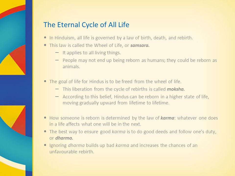 The Eternal Cycle of All Life In Hinduism, all life is governed by a law of birth, death, and rebirth.