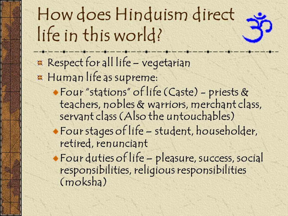 How does Hinduism direct life in this world.