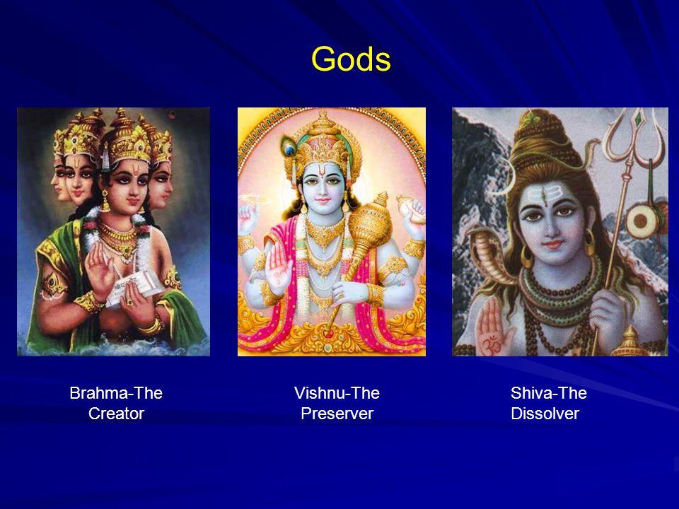 Gods Brahma-The Creator Vishnu-The Preserver Shiva-The Dissolver