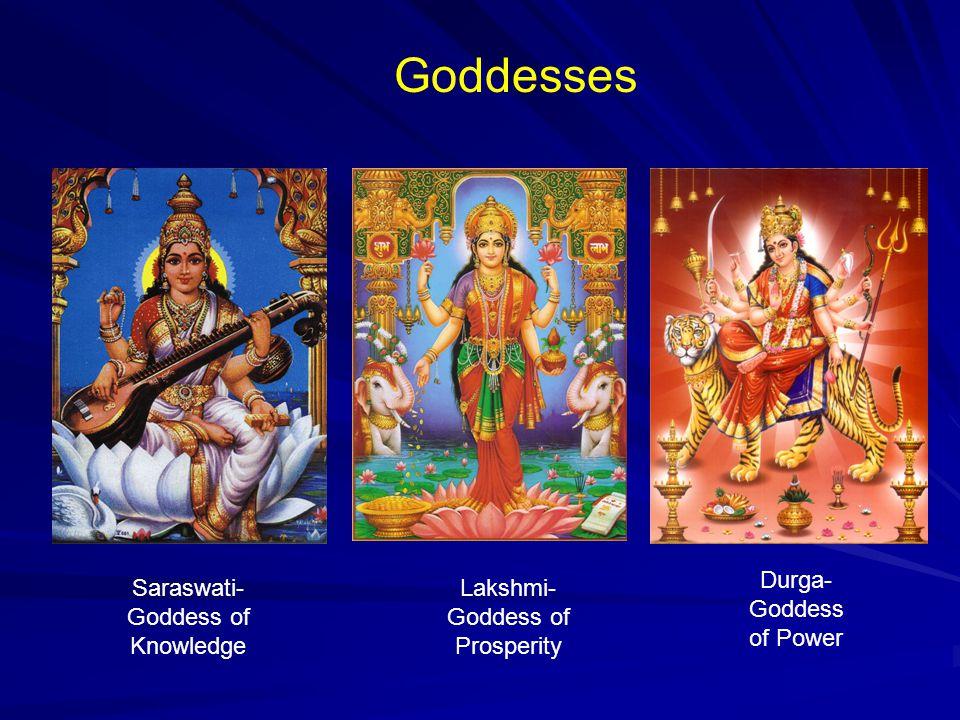 Goddesses Saraswati- Goddess of Knowledge Lakshmi- Goddess of Prosperity Durga- Goddess of Power