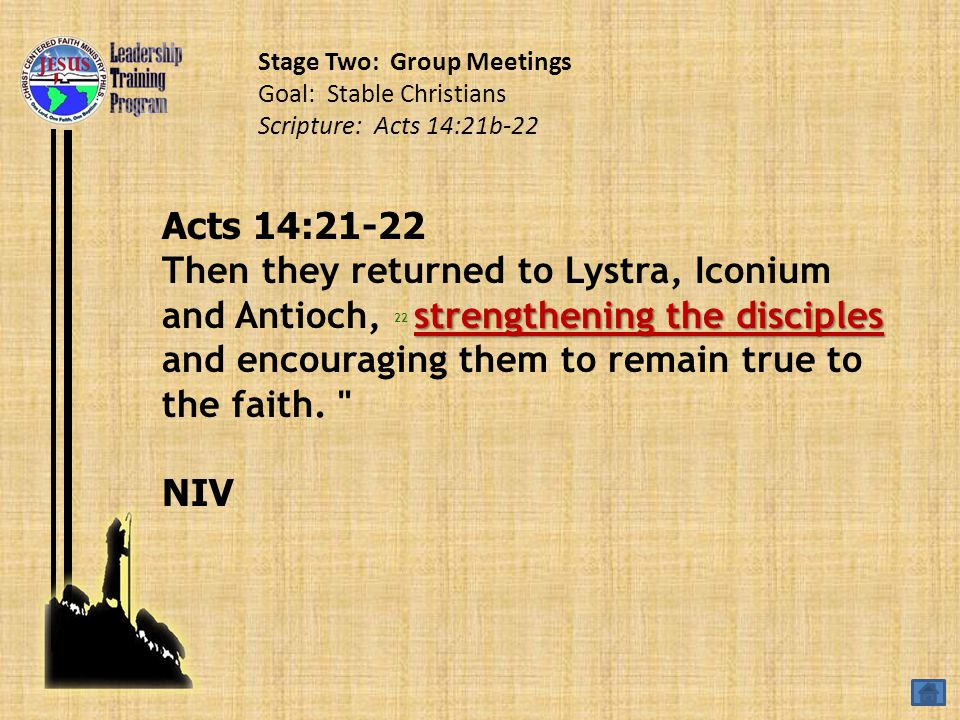 Acts 14:21-22 strengthening the disciples Then they returned to Lystra, Iconium and Antioch, 22 strengthening the disciples and encouraging them to remain true to the faith.