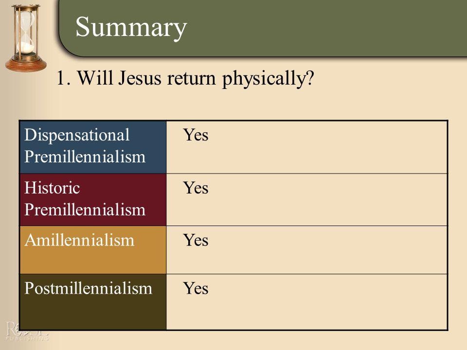 Summary Dispensational Premillennialism Yes Historic Premillennialism Yes AmillennialismYes PostmillennialismYes 1.