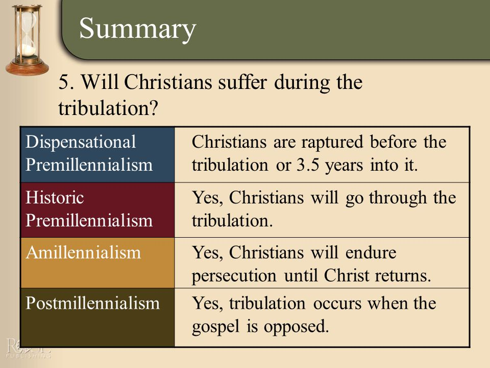 Summary Dispensational Premillennialism Christians are raptured before the tribulation or 3.5 years into it.