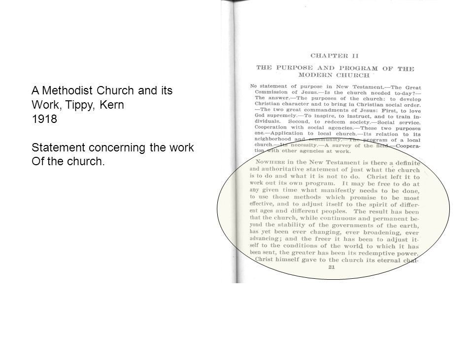 A Methodist Church and its Work, Tippy, Kern 1918 Statement concerning the work Of the church.