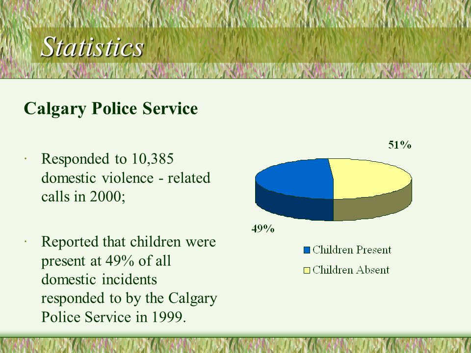 Statistics Calgary Police Service ·Responded to 10,385 domestic violence - related calls in 2000; ·Reported that children were present at 49% of all domestic incidents responded to by the Calgary Police Service in 1999.
