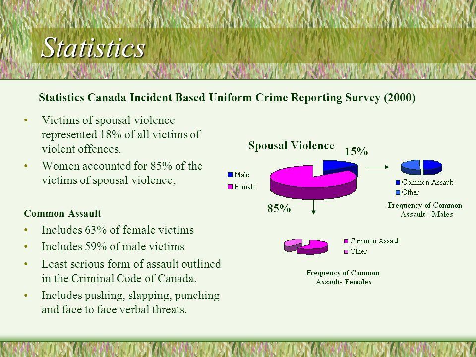 Statistics Statistics Canada Violence Against Women Survey (1993) Three in ten married women had been physically or sexually assaulted at least once.