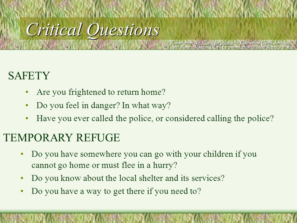 Critical Questions What concerns do you have about the safety or welfare of your children.