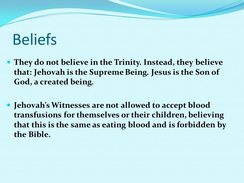 Beliefs They do not believe in the Trinity.