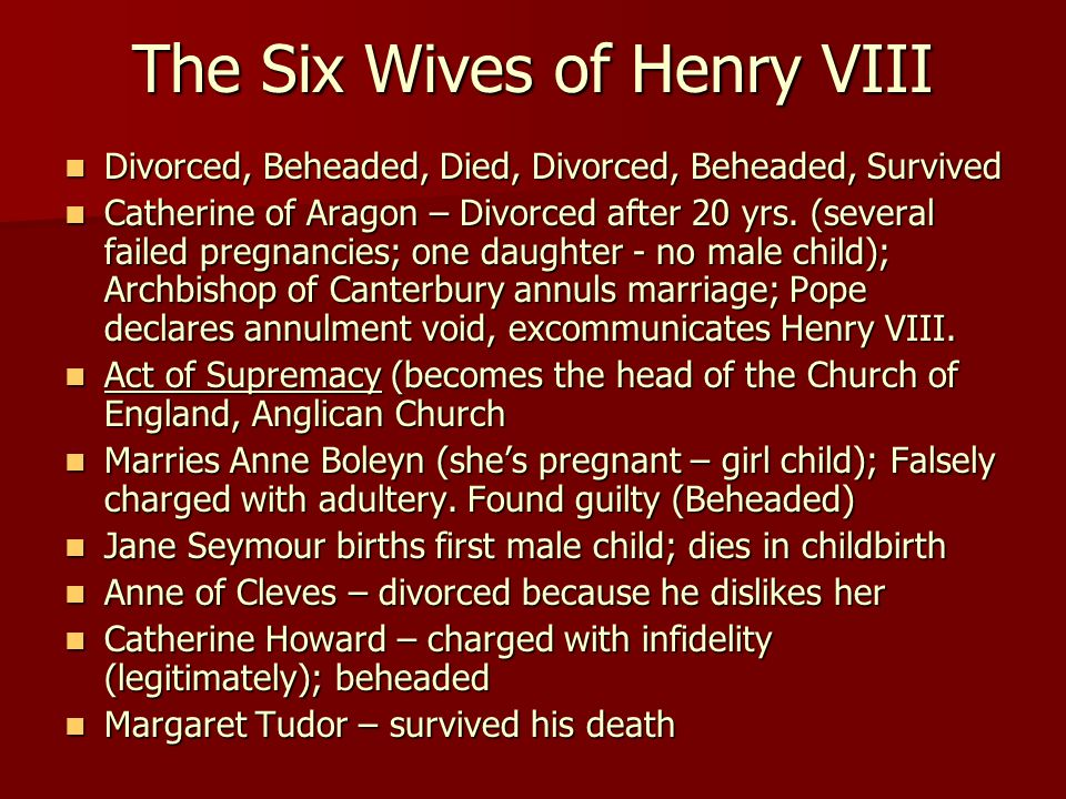 Divorced, Beheaded, Died, Divorced, Beheaded, Survived Divorced, Beheaded, Died, Divorced, Beheaded, Survived Catherine of Aragon – Divorced after 20