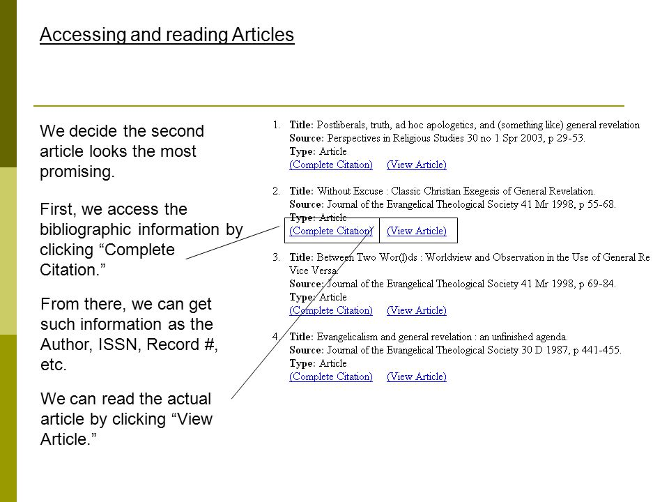 Accessing and reading Articles We decide the second article looks the most promising.