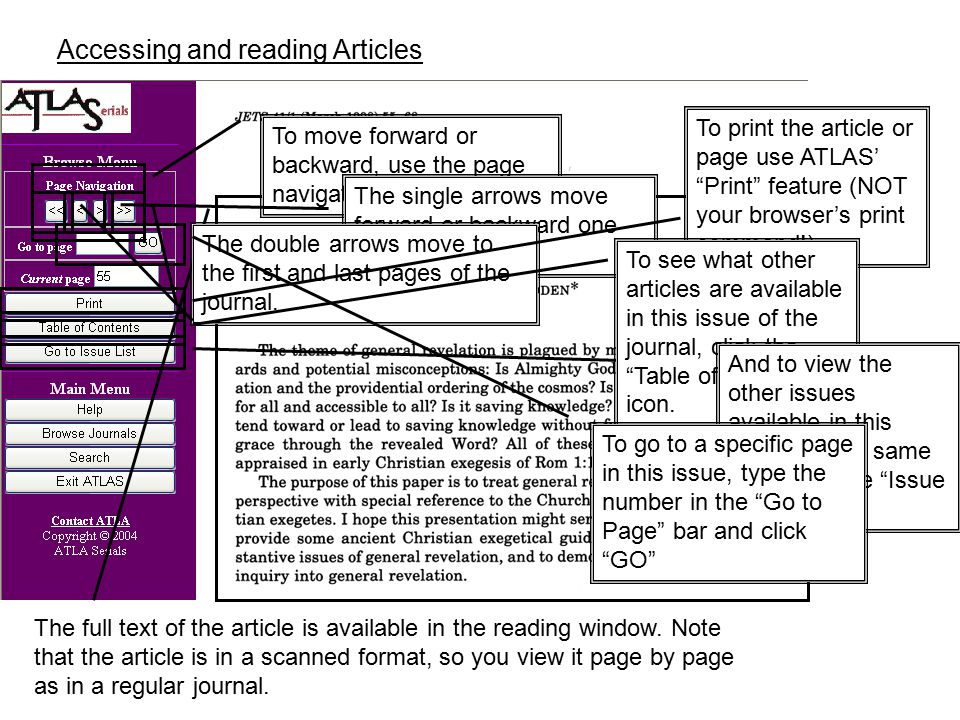 Accessing and reading Articles The full text of the article is available in the reading window.