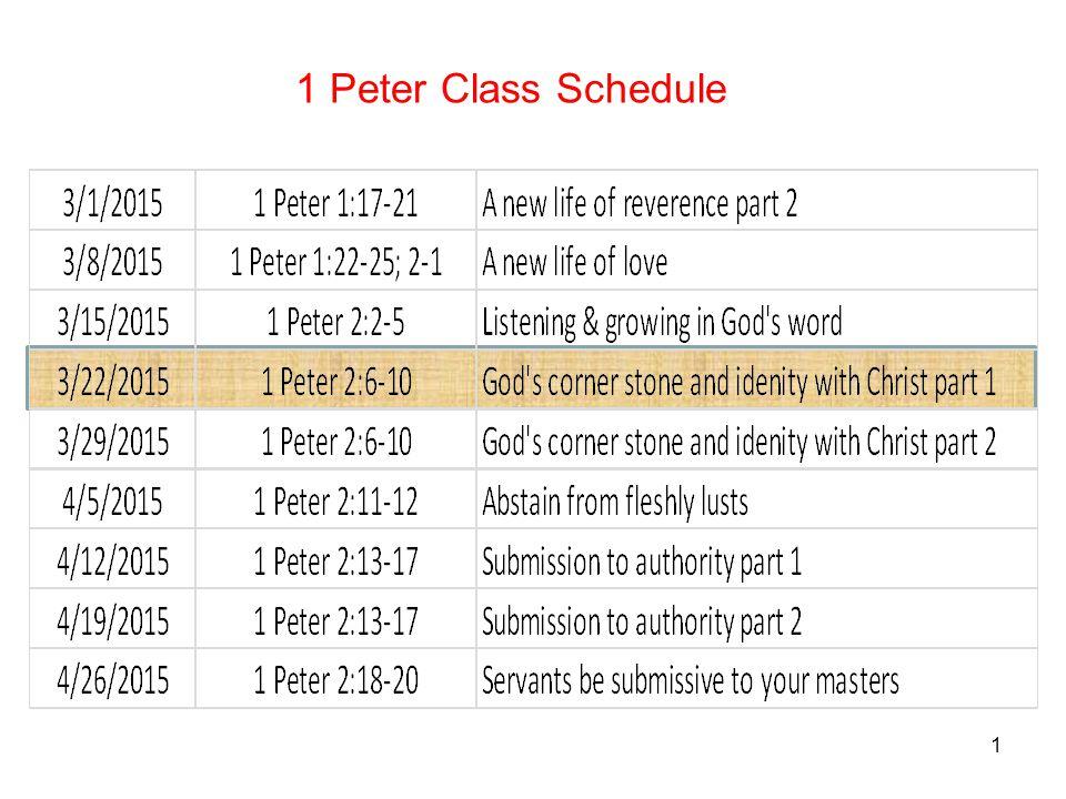 1 1 Peter Class Schedule