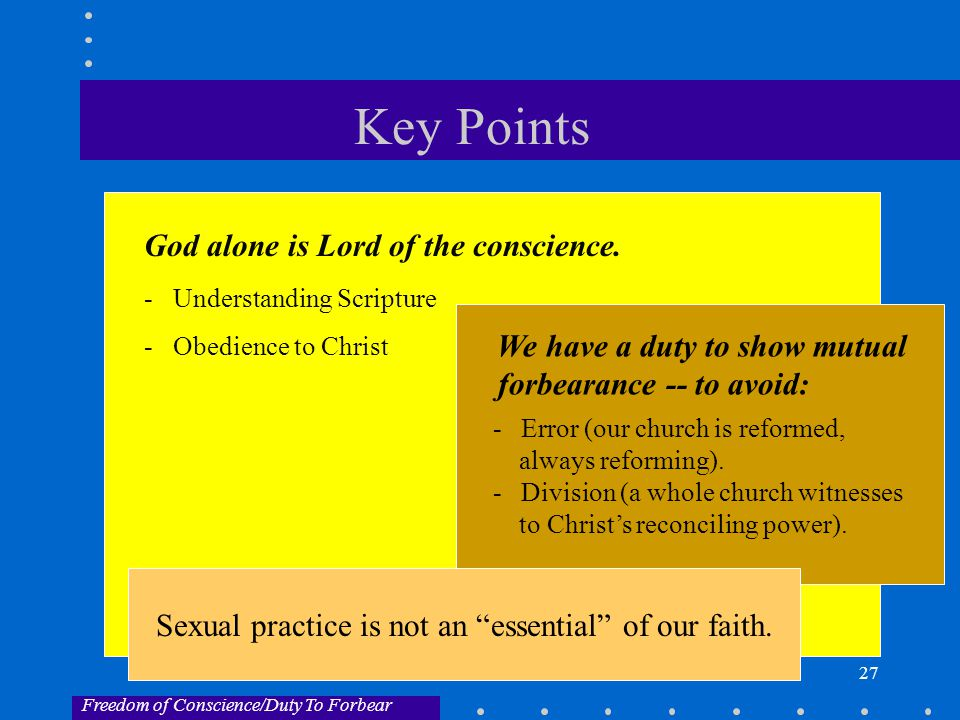 27 Key Points God alone is Lord of the conscience.