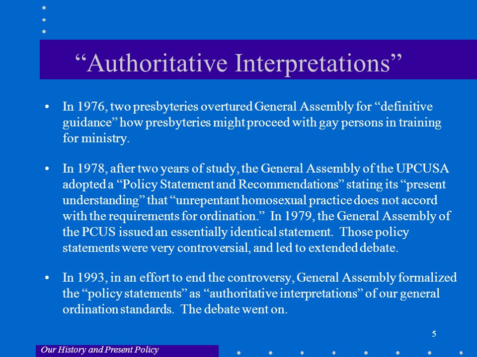 6 Amendment B In 1996, in another effort to end the debate, General Assembly sent proposed G-6.0106b to the presbyteries for their vote: Those who are called to office in the church are to lead a life in obedience to Scripture and in conformity to the historic confessional standards of the church.