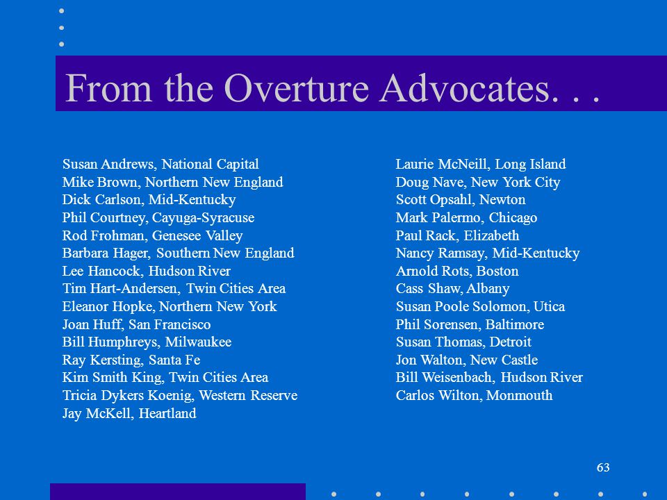 63 From the Overture Advocates...
