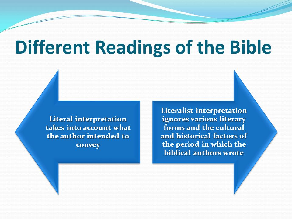 How to Understand the Bible Literal Sense Spiritual Sense What the author intended by the words he wrote Looks to the deeper meaning of various scriptural passages as part of God's overall plan of Salvation