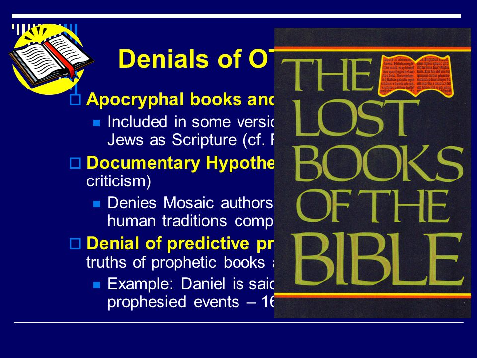 Denials of OT Inspiration  Apocryphal books and lost books Included in some versions, but never accepted by Jews as Scripture (cf.