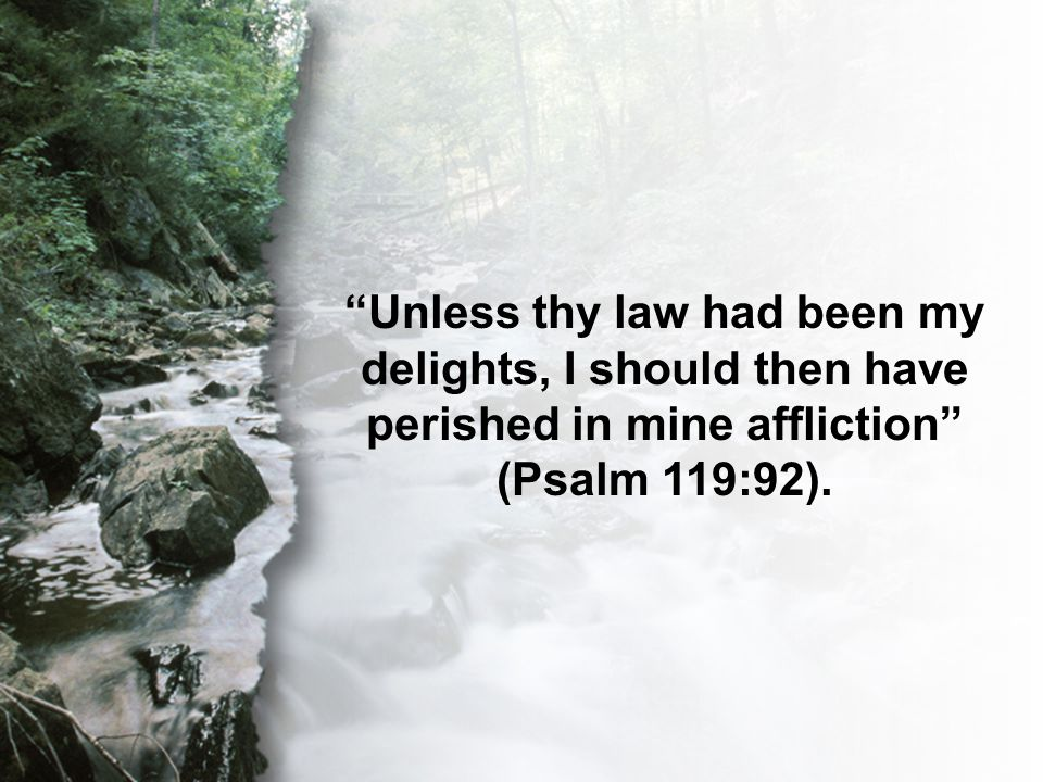 Psalm 119:92 Unless thy law had been my delights, I should then have perished in mine affliction (Psalm 119:92).