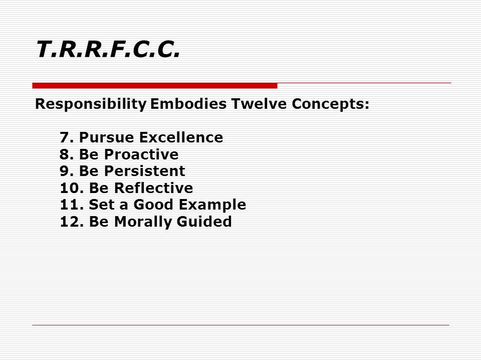 Responsibility Embodies Twelve Concepts: 7.Pursue Excellence 8.