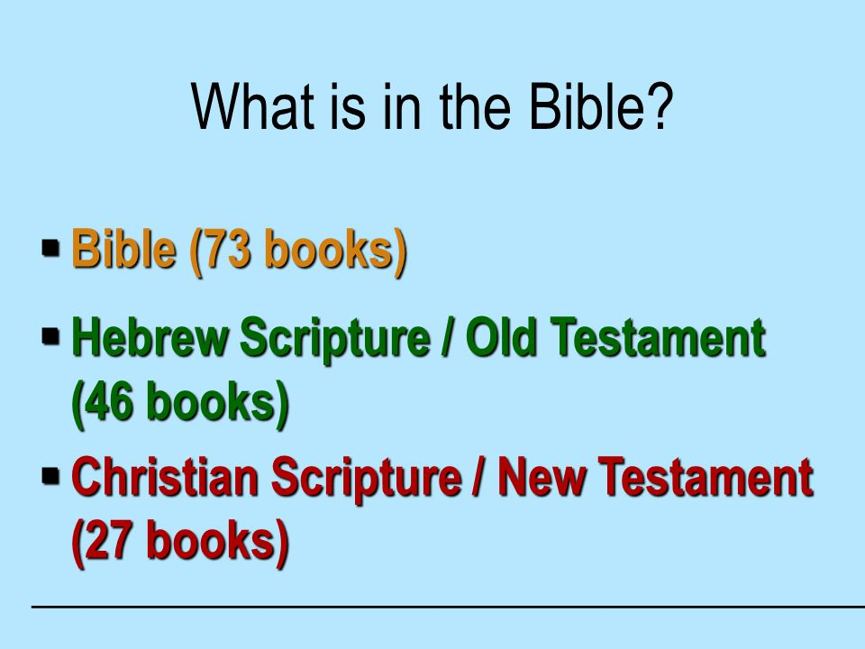 What is in the Bible.
