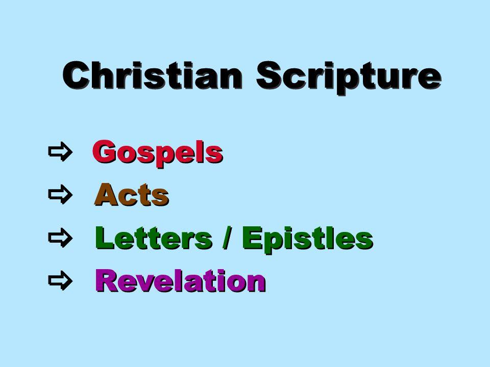 Christian Scripture  Gospels  Acts  Letters / Epistles  Revelation  Gospels  Acts  Letters / Epistles  Revelation