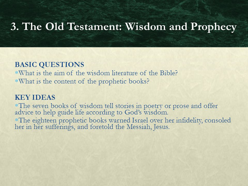 BASIC QUESTIONS  What is the aim of the wisdom literature of the Bible?  What is the content of the prophetic books? KEY IDEAS  The seven books of
