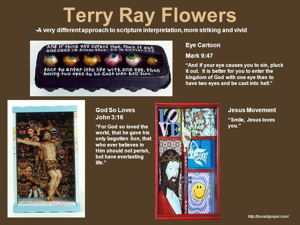 "Terry Ray Flowers -A very different approach to scripture interpretation, more striking and vivid Eye Cartoon Mark 9:47 ""And if your eye causes you to"