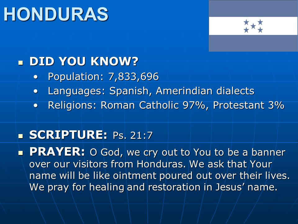 HONDURAS DID YOU KNOW? DID YOU KNOW? Population: 7,833,696Population: 7,833,696 Languages: Spanish, Amerindian dialectsLanguages: Spanish, Amerindian