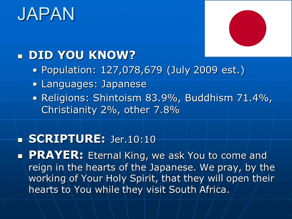 JAPAN DID YOU KNOW? DID YOU KNOW? Population: 127,078,679 (July 2009 est.)Population: 127,078,679 (July 2009 est.) Languages: JapaneseLanguages: Japan