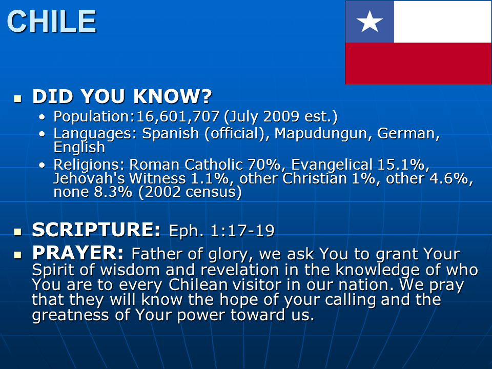 CHILE DID YOU KNOW? DID YOU KNOW? Population:16,601,707 (July 2009 est.)Population:16,601,707 (July 2009 est.) Languages: Spanish (official), Mapudung