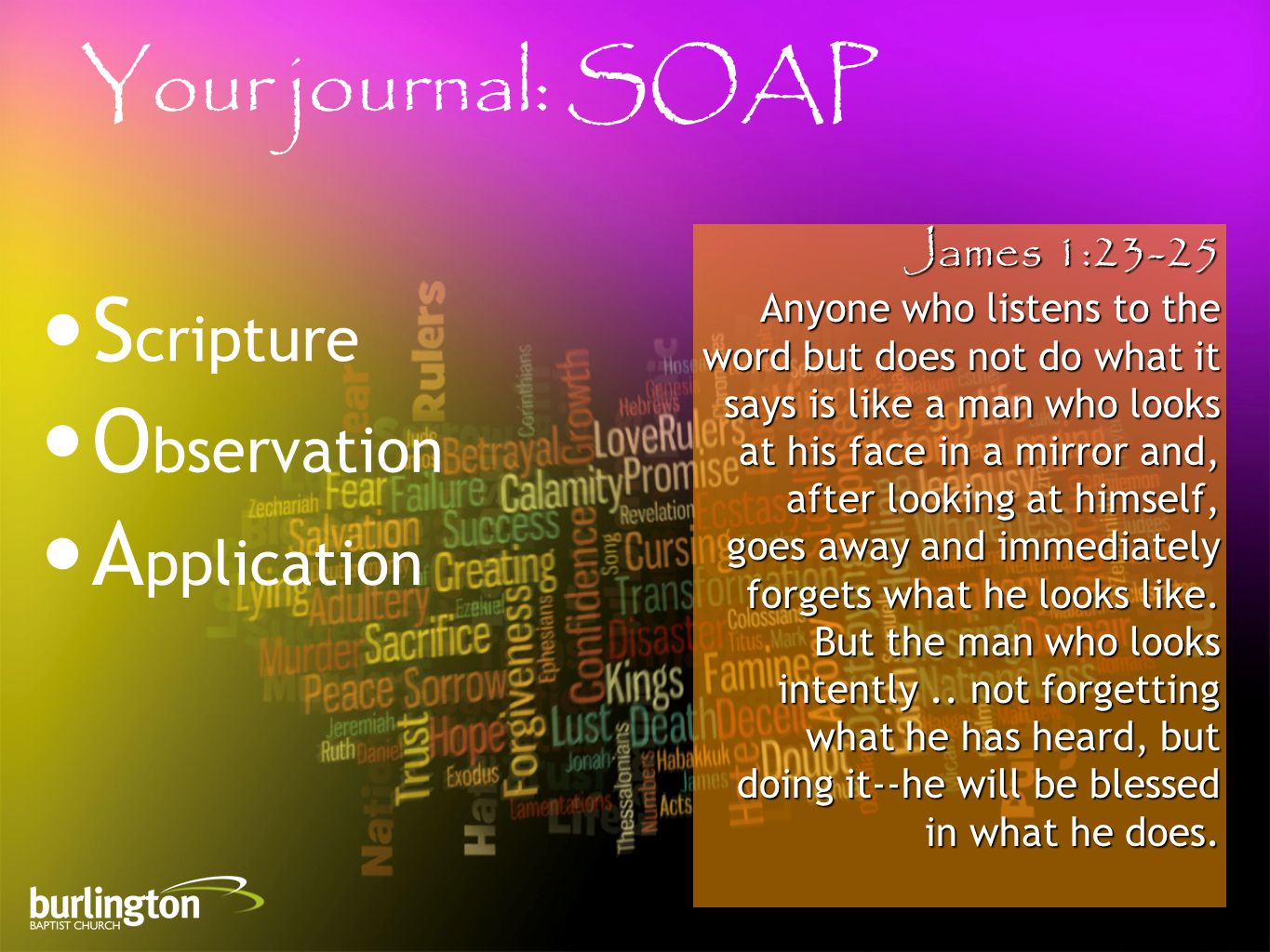 James 1:23-25 Anyone who listens to the word but does not do what it says is like a man who looks at his face in a mirror and, after looking at himself, goes away and immediately forgets what he looks like.