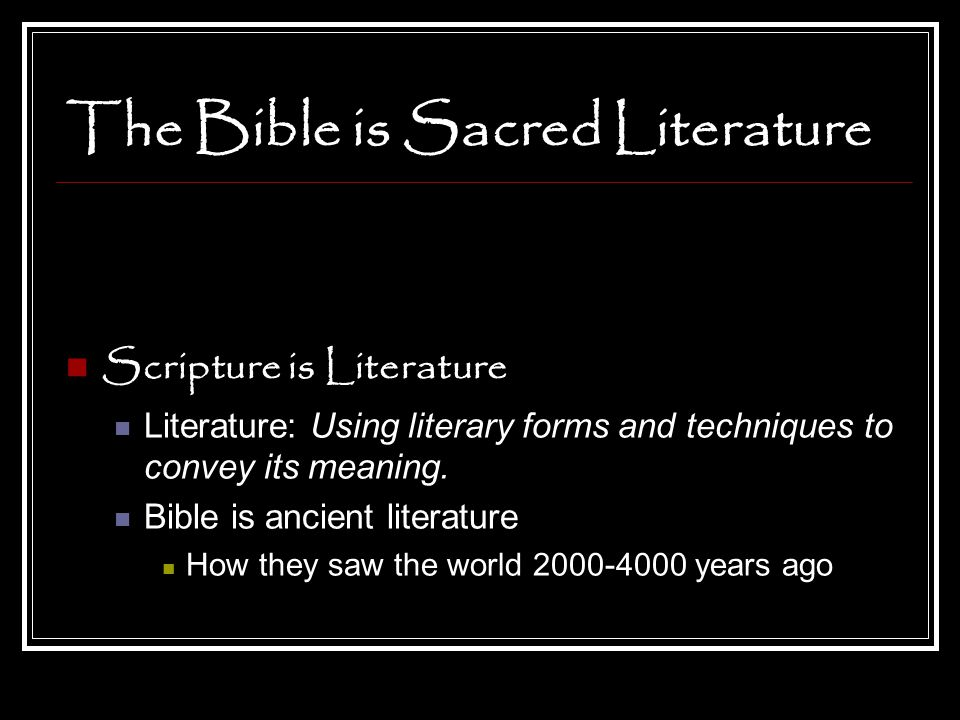 The Bible is Religious Religious Purpose There is always a religious purpose and message in the Bible Bible is history from the faith perspective Important characters are ordinary people