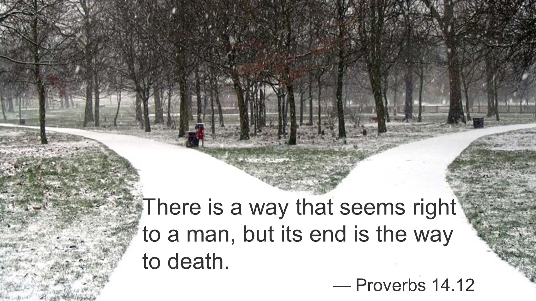 There is a way that seems right to a man, but its end is the way to death. — Proverbs 14.12