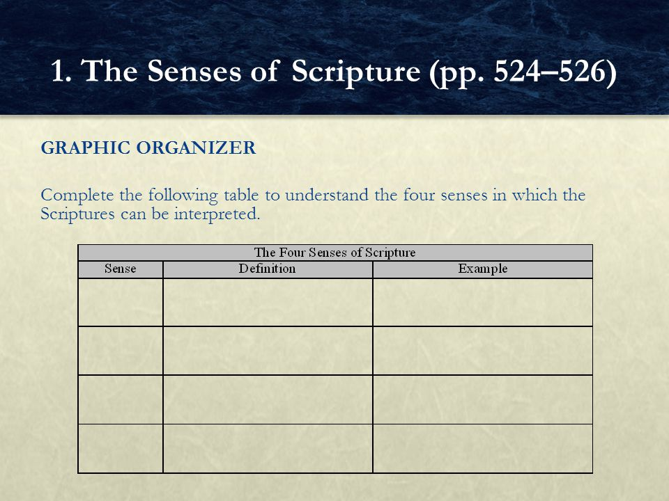 GRAPHIC ORGANIZER Complete the following table to understand the four senses in which the Scriptures can be interpreted. 1. The Senses of Scripture (p