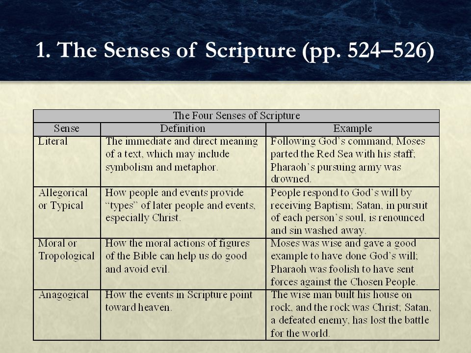 FOCUS QUESTIONS Besides the literal, what other senses has Scripture.