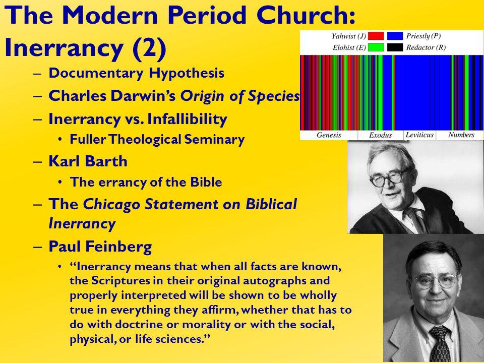 – Documentary Hypothesis – Charles Darwin's Origin of Species – Inerrancy vs.