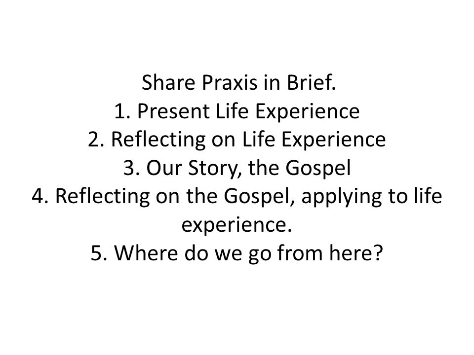 Share Praxis in Brief. 1. Present Life Experience 2.