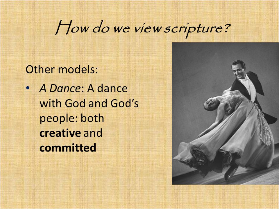 Other models: A Dance: A dance with God and God's people: both creative and committed