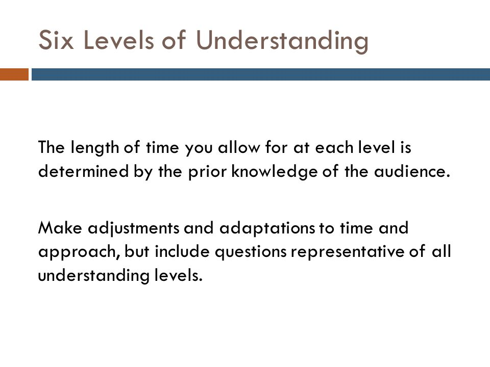 Six Levels of Understanding The length of time you allow for at each level is determined by the prior knowledge of the audience.