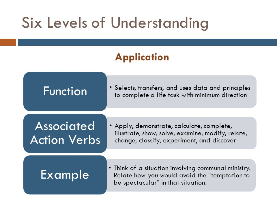 Six Levels of Understanding Analysis Thought process in use: can examine, classify, hypothesize, collect data, and draw conclusions Function Analyze, separate, order, explain, connect, classify, arrange, divide, compare, select, explain, infer Associated Action Verbs Why do you think Nouwen included a separate chapter in his book about the temptation to be spectacular .