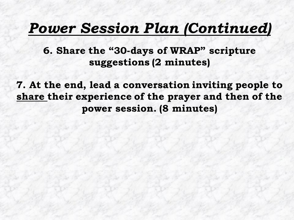 """7. At the end, lead a conversation inviting people to share their experience of the prayer and then of the power session. (8 minutes) 6. Share the """"30"""
