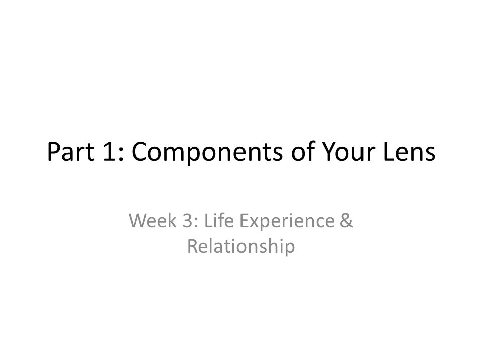 Part 1: Components of Your Lens Week 3: Life Experience & Relationship