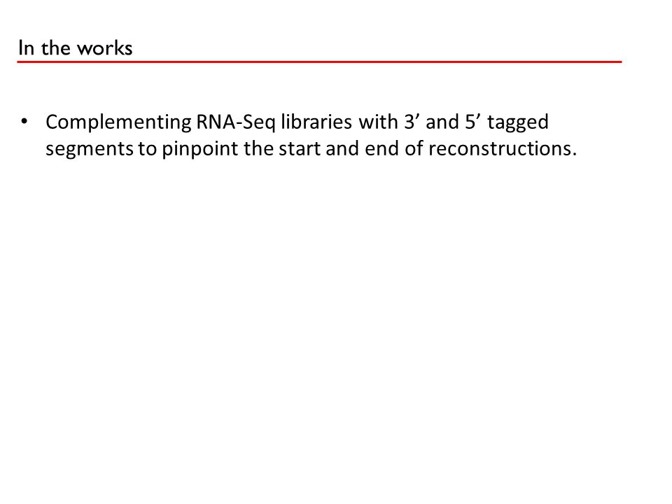 In the works Complementing RNA-Seq libraries with 3' and 5' taggedsegments to pinpoint the start and end of reconstructions.