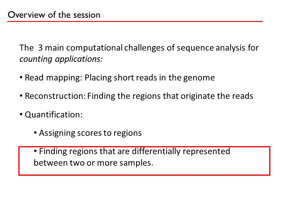 Overview of the session The 3 main computational challenges of sequence analysis for counting applications: Read mapping: Placing short reads in the g