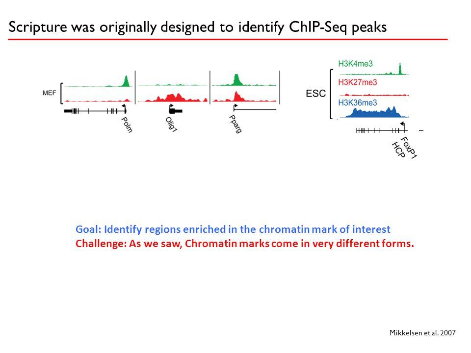 Scripture was originally designed to identify ChIP-Seq peaks Mikkelsen et al. 2007 Goal: Identify regions enriched in the chromatin mark of interest C