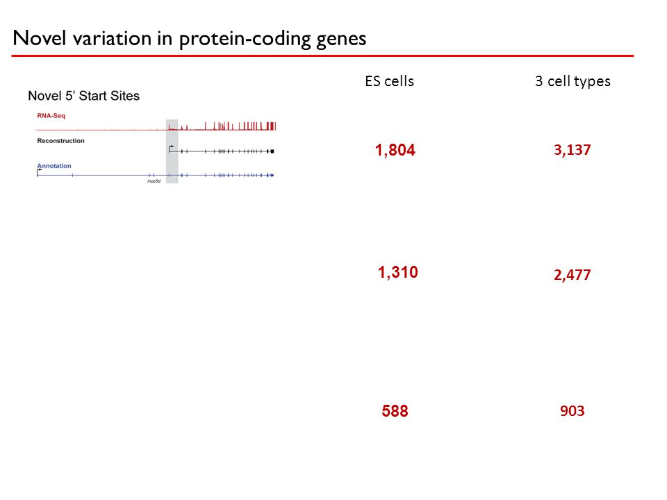 Novel variation in protein-coding genes 1,804 1,310 588 3,137 2,477 903 3 cell typesES cells