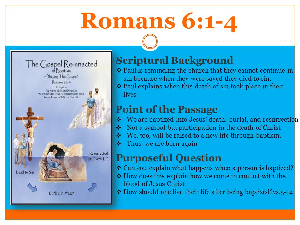 Romans 6:1-4 Scriptural Background  Paul is reminding the church that they cannot continue in sin because when they were saved they died to sin.