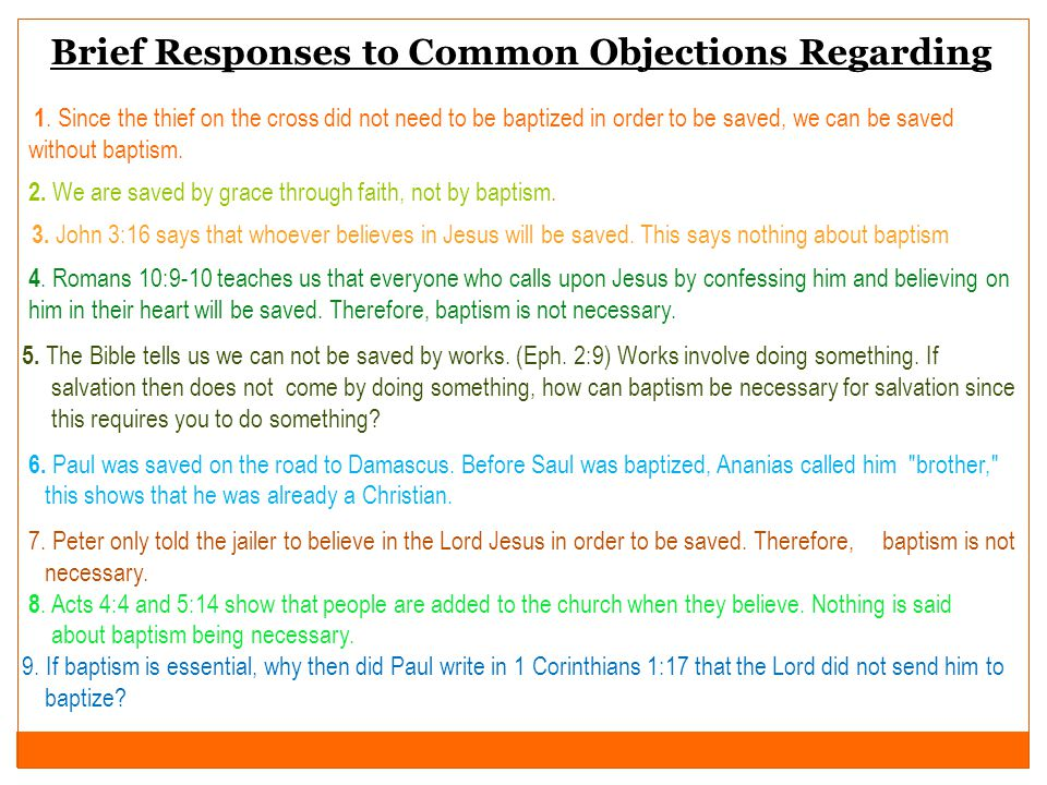Brief Responses to Common Objections Regarding 1.