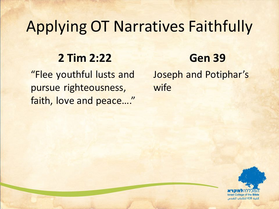 Applying OT Narratives Faithfully 2 Tim 2:22 Flee youthful lusts and pursue righteousness, faith, love and peace…. Gen 39 Joseph and Potiphar's wife